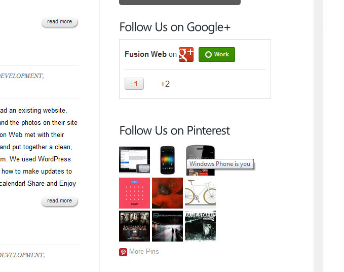 Fusion Web is now on Google+ and Pinterest!