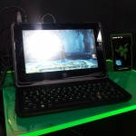 The Razer Edge with the Laptop docking station.