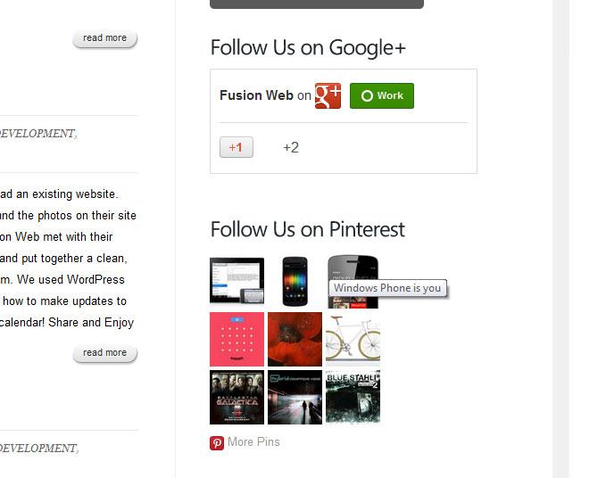 Fusion Web Pinterest and G+ Widgets!
